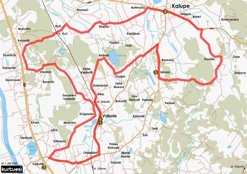 Vabole-Kalupe karte
